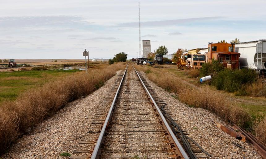 Railway through Saskatchewan. Canada.