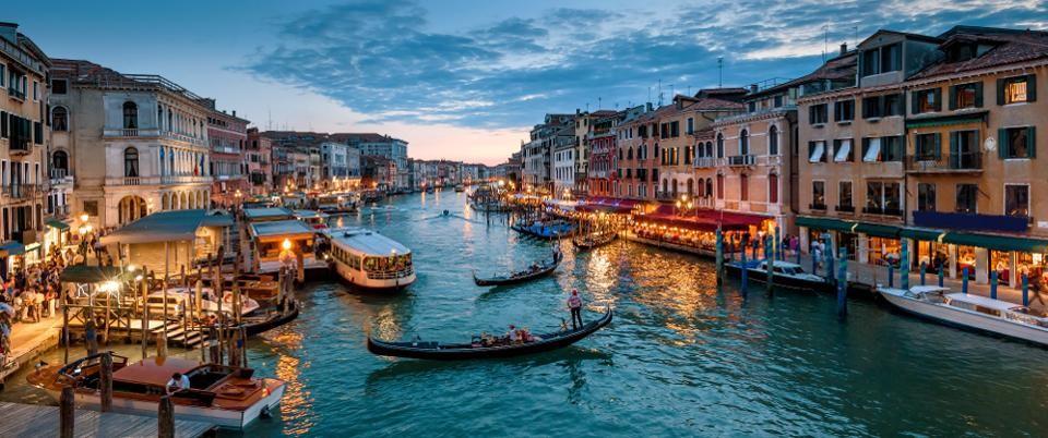 Panorama of Venice at night, Italy