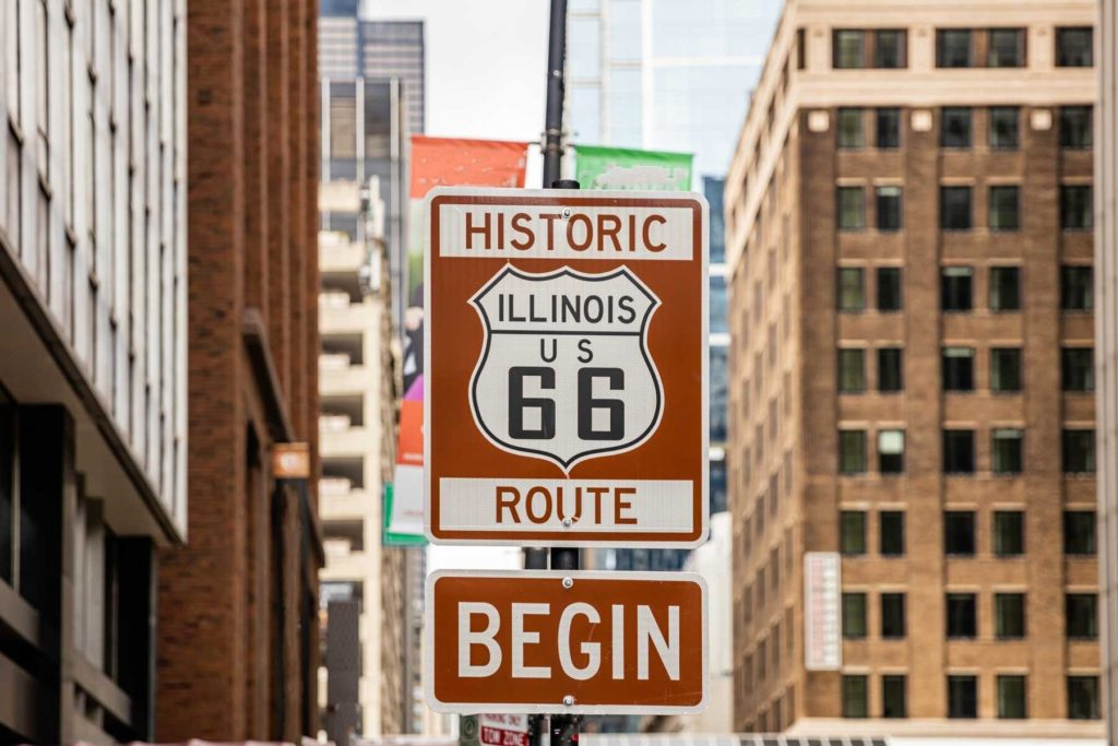 Route 66 Illinois Begin road sign at Chicago city