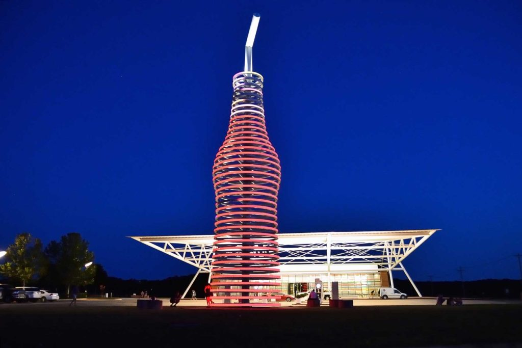 route 66 through Arcadia, Oklahoma, and you cant miss the neon, 66-foot-tall soda bottle in front of POPS