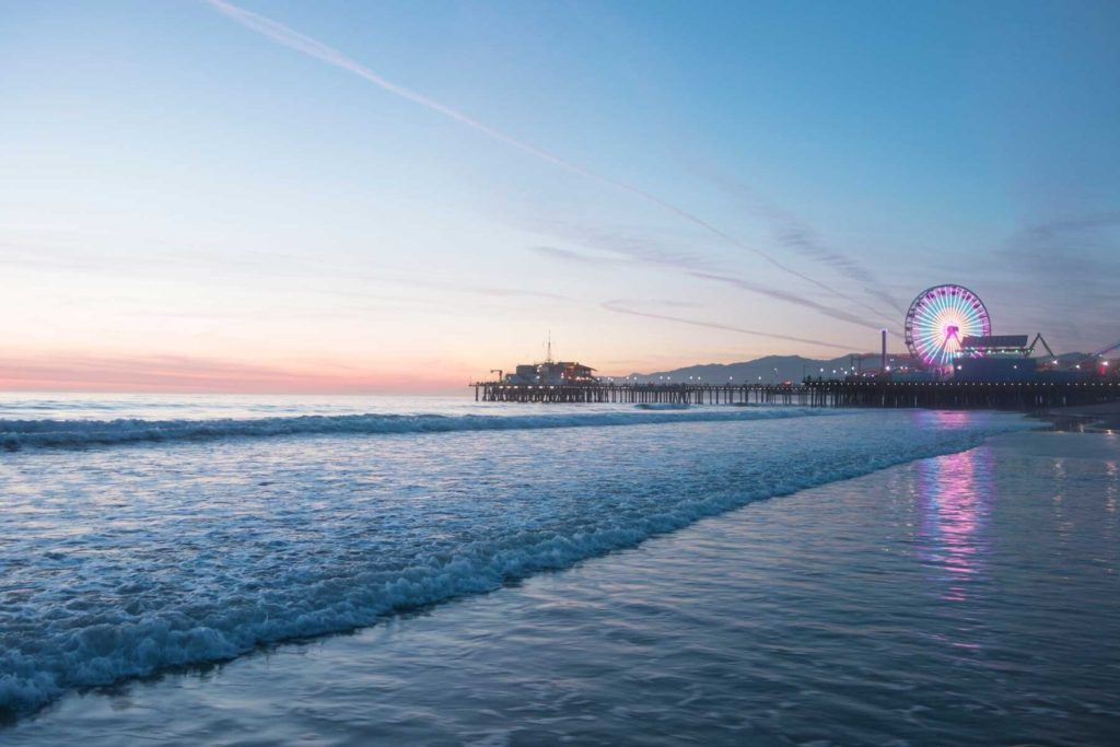 Santa Monica Pier Beach at Sunset