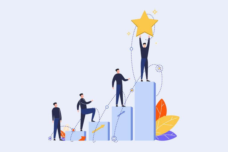 Analogy for change showing people in the process of moving up a staircase with the guy at the top holding a golden star representing success