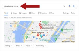Example of a local search on Google